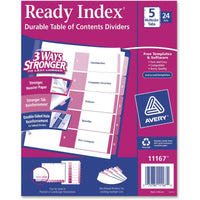 Avery Ready Index Customizable Table of Contents Classic Multicolor Dividers 24 Sets (11167) - 5 x Divider(s) - Printed Tab(s)