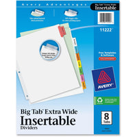 Avery Big Tab Extra Wide White Insertable Dividers   Clear Reinforced 8 Multicolor Tabs, 1 Set