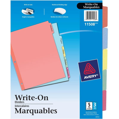 Avery Plain Tab Write On Dividers  5 x Divider(s) - Write-on Tab(s)