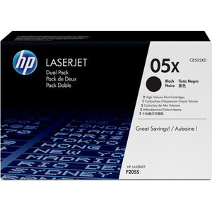 HP 05X Original Toner Cartridge - Dual Pack - Laser - 6500 Pages - Black