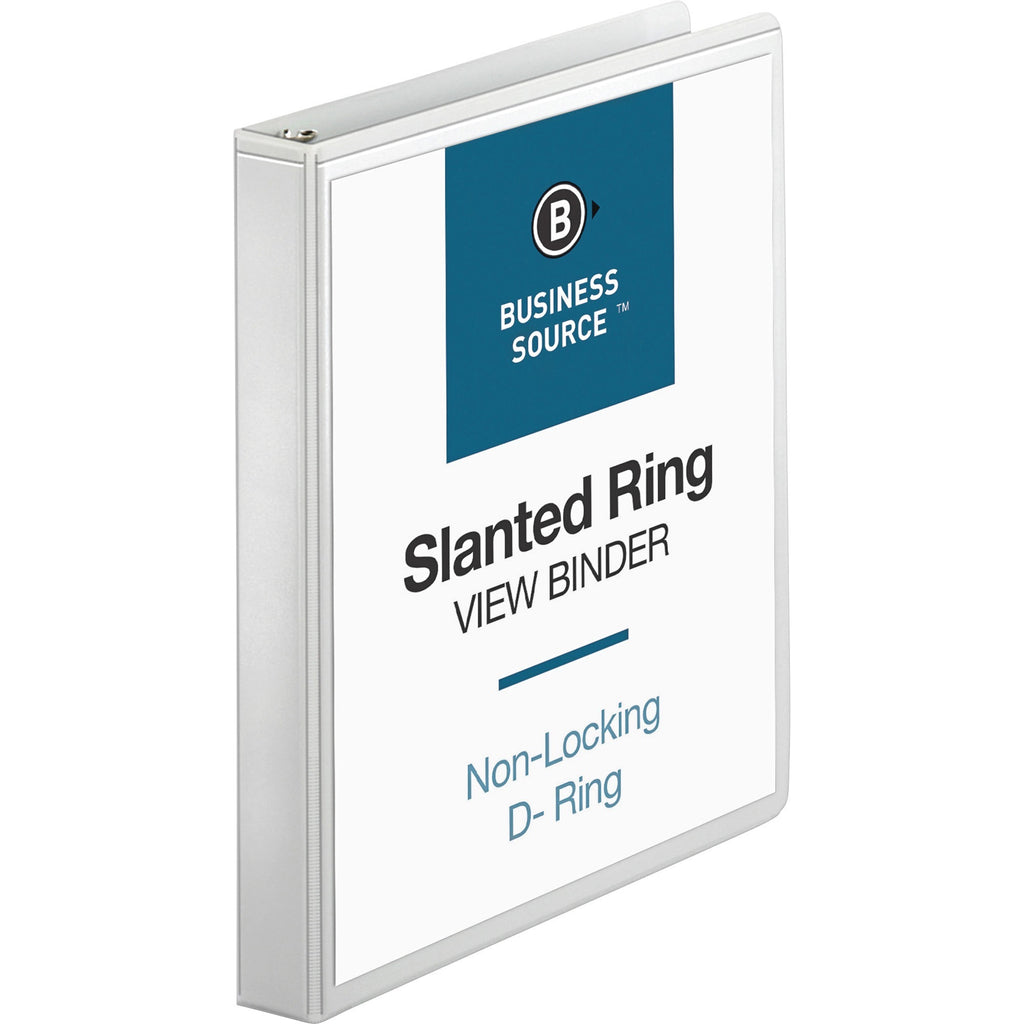 "Business Source Basic D Ring White View Binders  1"" Binder Capacity"