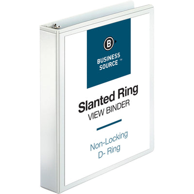 Business Source Basic D Ring White View Binders  - 1 1/2