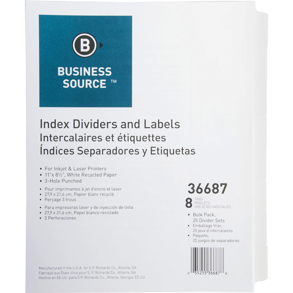 Business Source Punched Laser Index Dividers 8 Blank Tab(s) 25 sets
