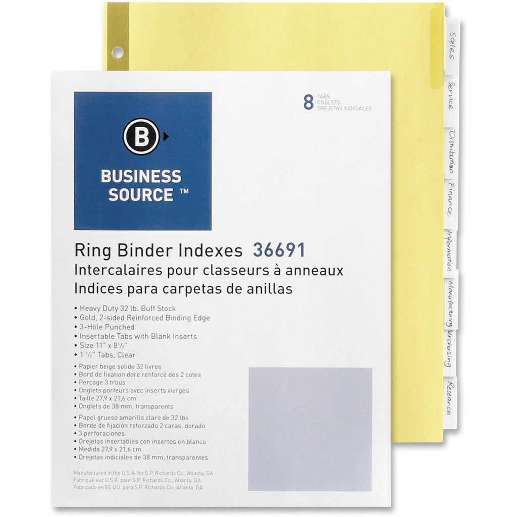 Business Source Insertable Tab Indexes 8 Tab