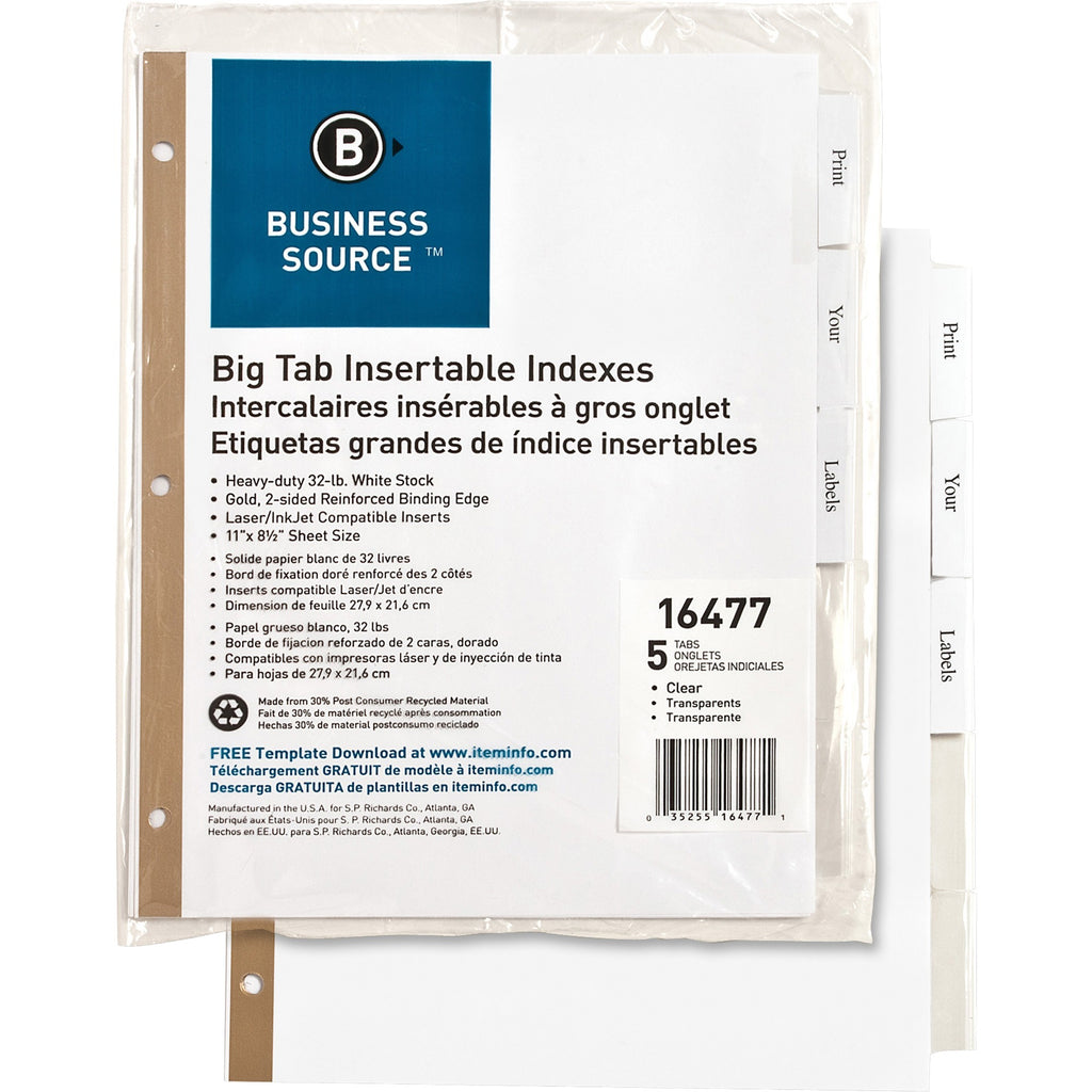 Business Source Tear resistant Clear Tab Index Dividers, letter, white, 5/Set