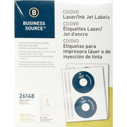 Business Source Laser Inkjet CD DVD Labels, white, 100PK