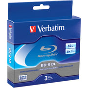Verbatim BD R DL 50GB 6X with Branded Surface   3pk Jewel Case Box