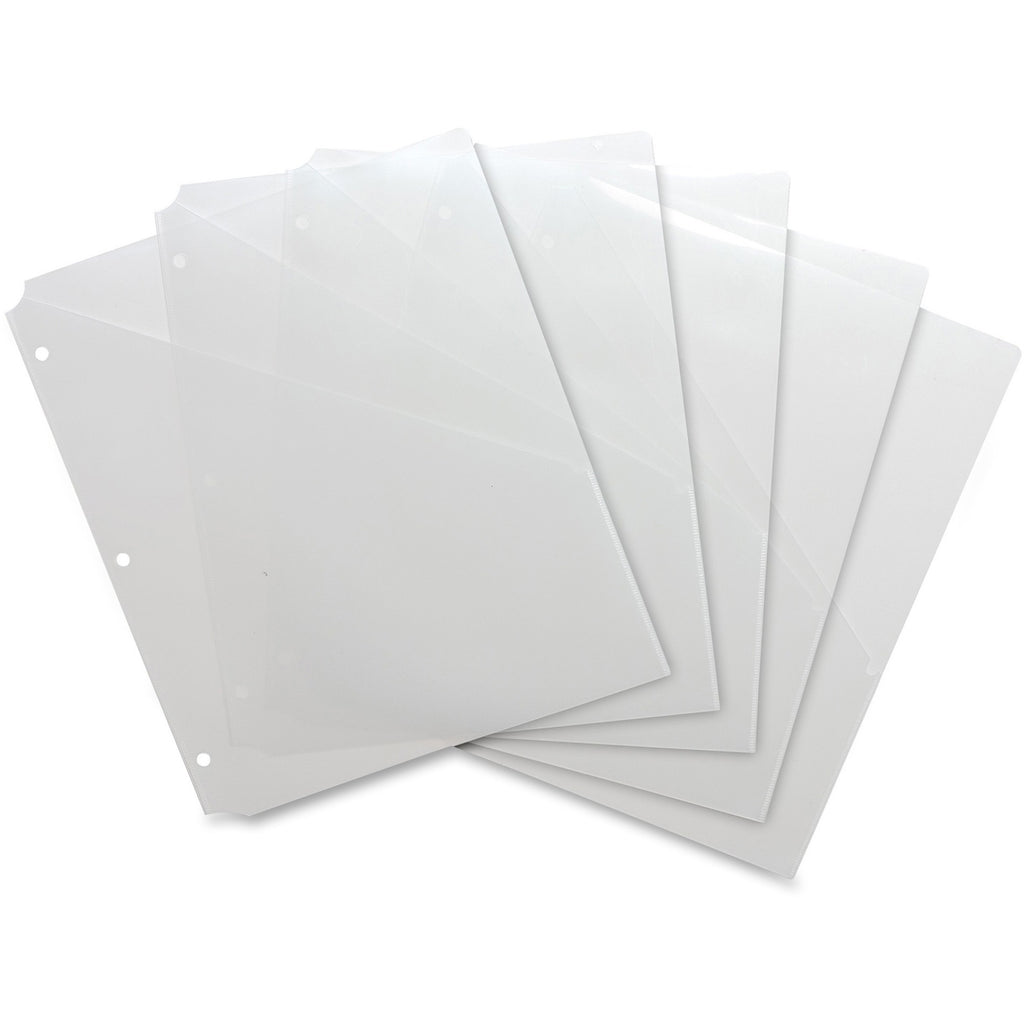 Business Source Poly Binder Pockets, letter, clear, 5/pack