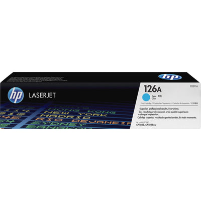HP 126A Original Toner Cartridge - Single Pack - Laser - Standard Yield - 1000 Pages - Cyan - 1 Each