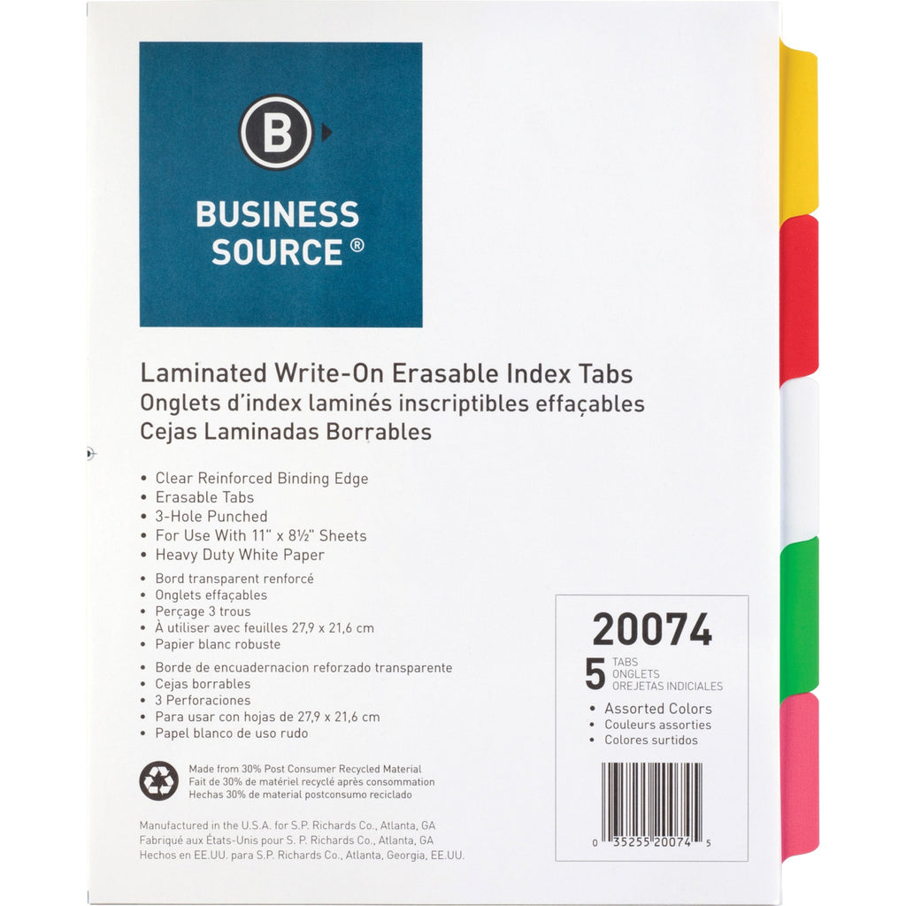 Business Source Laminated Write On Tab Indexes, letter, 5 tab, 3 hole-punch, multicolor, 5/set