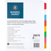 Business Source Laminated Write On Tab Indexes, letter, 8 tab, 3 hole-punch, multicolor, 8/set