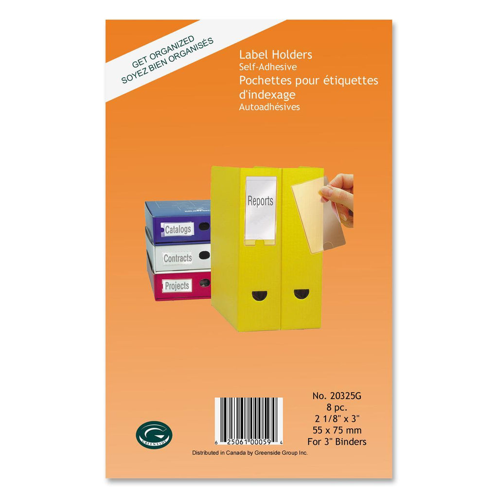"Greenside Label Holder - 2.10"" (53.34 mm) x 3"" (76.20 mm) - 8 / Pack - Clear"
