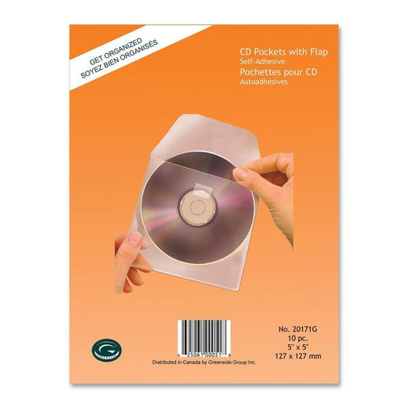 Greenside Self Adhesive CD Pocket with Flap