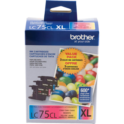 Brother LC 75 3PKS Original Ink Cartridge - Inkjet - Cyan, Magenta, Yellow - 3 / Pack