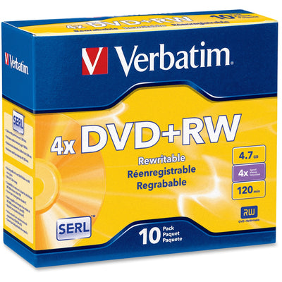 Verbatim DVD+RW 4.7GB 4X with Branded Surface   10pk Jewel Case