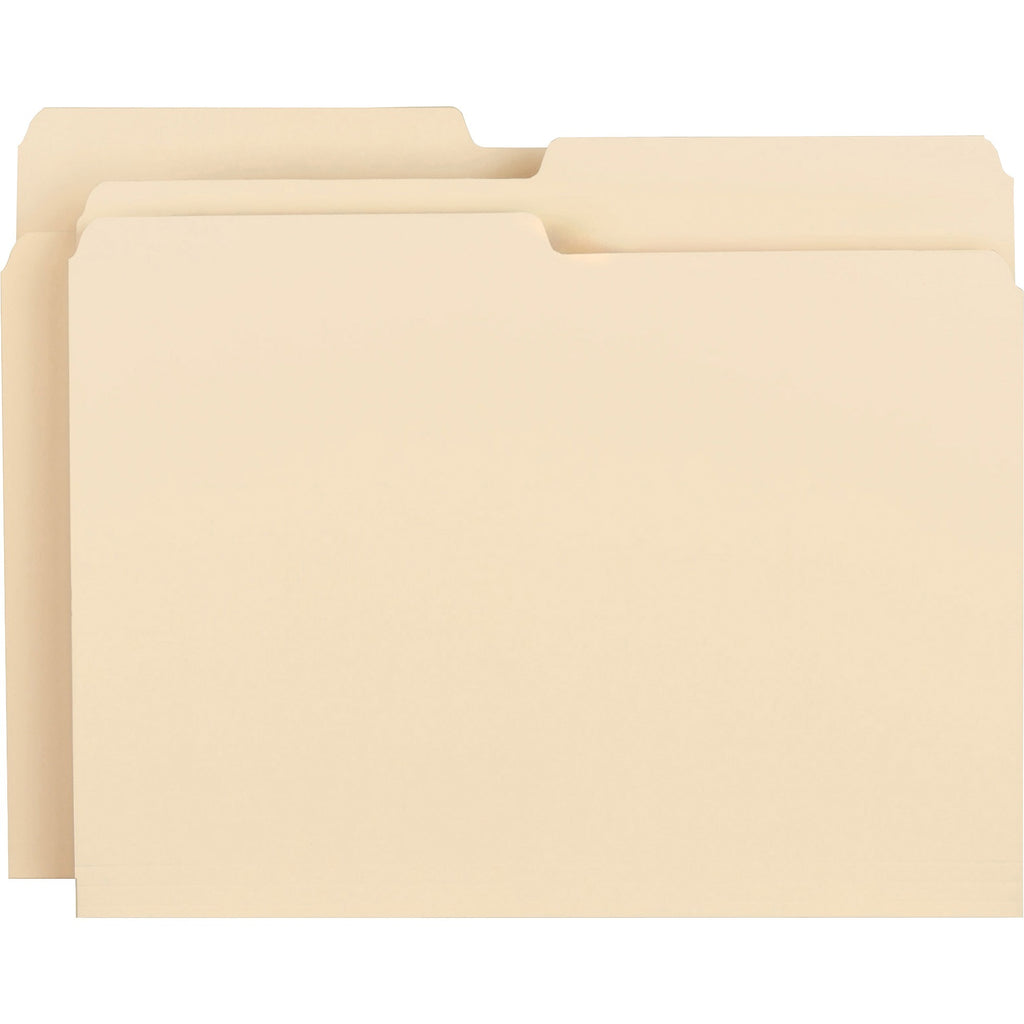 Business Source 1 2 cut 1 ply Top Tab File Folders, letter, 1/2 tab assorted, 100/box