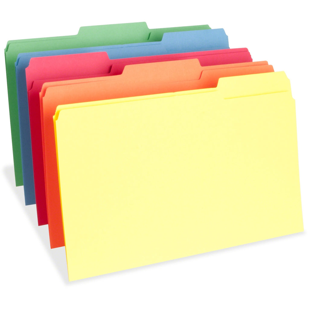 Business Source 1/3 Cut One-Ply Tab Legal File Folders - Legal