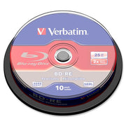 Verbatim BD RE 25GB 2X with Branded Surface   10pk Spindle Box