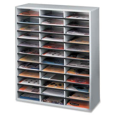 Fellowes Litrature Organizer   36 Compartment  Letter  Dove Gray
