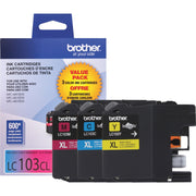 Brother Innobella LC 103 3PKS Original Ink Cartridge - Inkjet - High Yield - 600 Pages Cyan, 600 Pages Magenta, 600 Pages Yellow - Cyan, Magenta, Yellow
