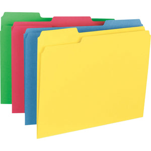Business Source 1 3 cut Tab Heavyweight Color File Folders, letter, assorted tab, 50/box