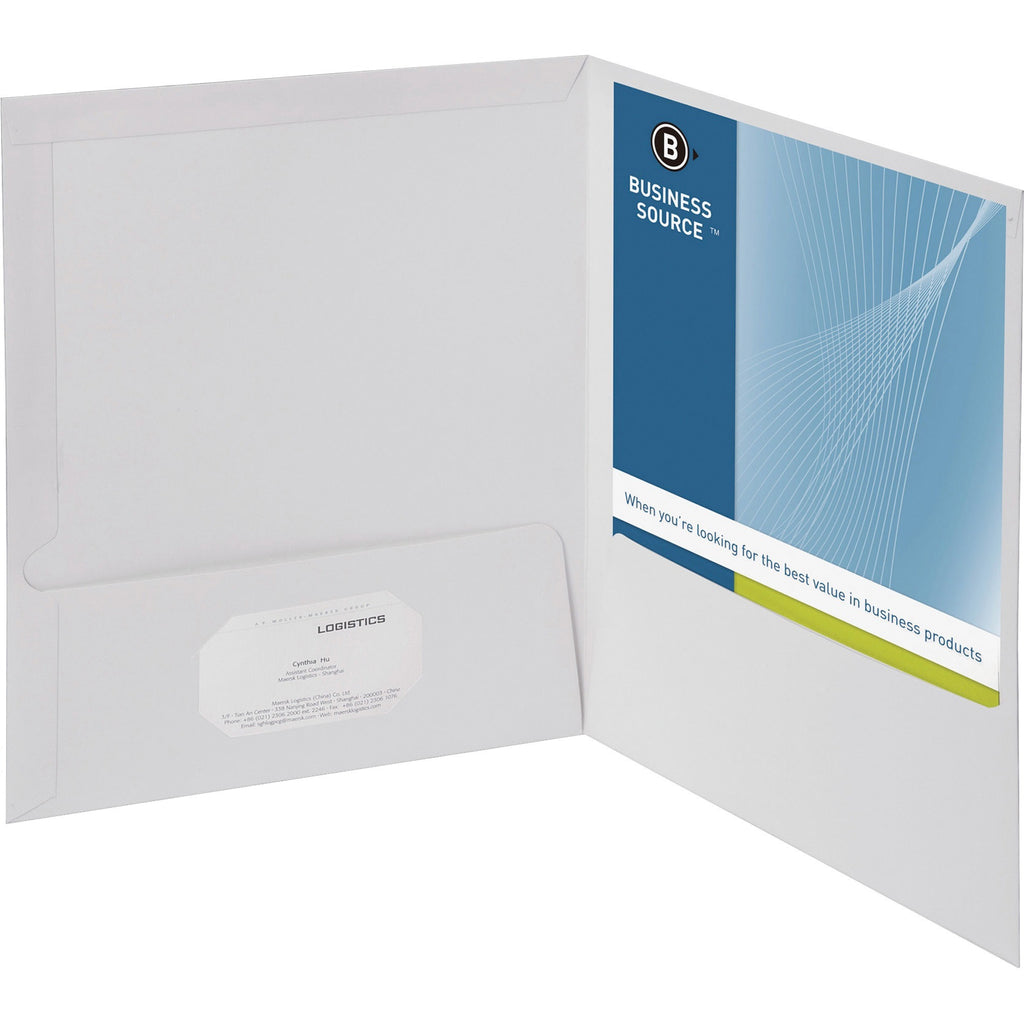 Business Source 2 Pocket Report Covers with Bus Card Holder Letter 25PK