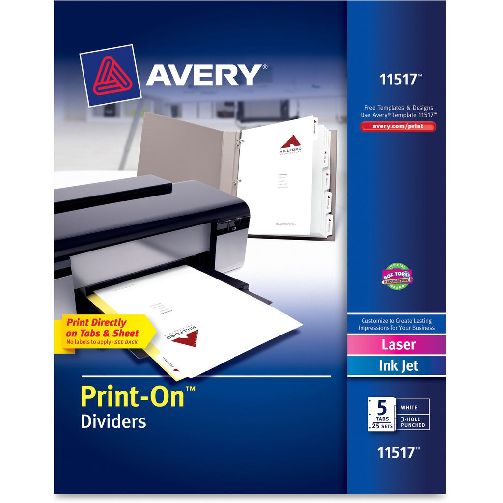 Avery Customizable Print On Dividers  5 Tab(s)/Set