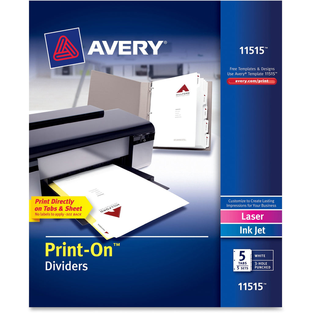 Avery Customizable Print On Dividers - 5 Tab(s)/Set