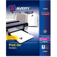 Avery Customizable Print On Dividers  8 Tabs, White, 25 Set