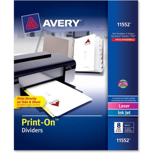 Avery Customizable Print On Dividers  5 Sets (11552) - 8 Print-on Tab(s)
