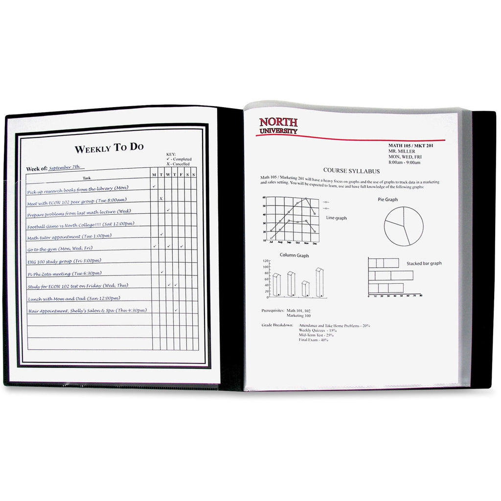 "C-Line Bound Sheet Protector Presentation Books - Letter - 8 1/2"" x 11"" Sheet Size - 48 Sheet Capacity - 24 Pocket(s) - Polypropylene - Black - 1 Each"