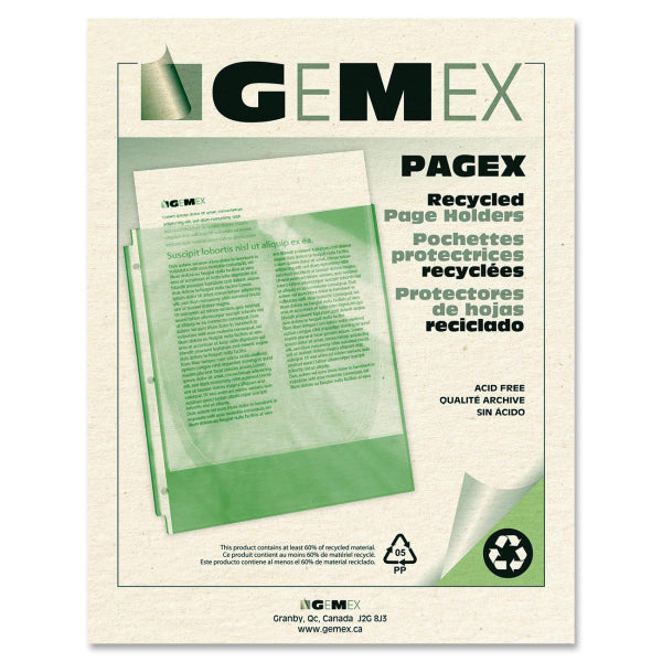 Gemex Top loading Recycled Pagex Page Protector