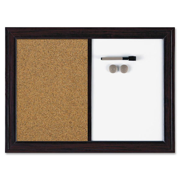 Quartet Espresso Combination Dry Erase Cork Board 23in x 17in