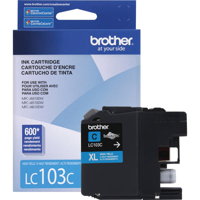 Brother LC 103 Y Original Ink Cartridge - Inkjet - High Yield - 600 Pages - Cyan - 1 Each