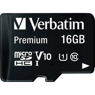Verbatim 16GB Premium microSDHC Memory Card with Adapter  UHS I V10 U1 Class 10