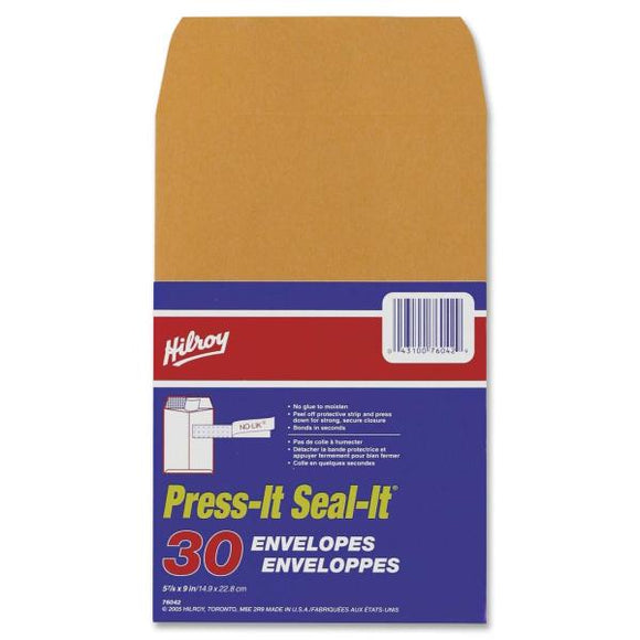 Hilroy Press It Seal It Kraft Adhesive Envelopes