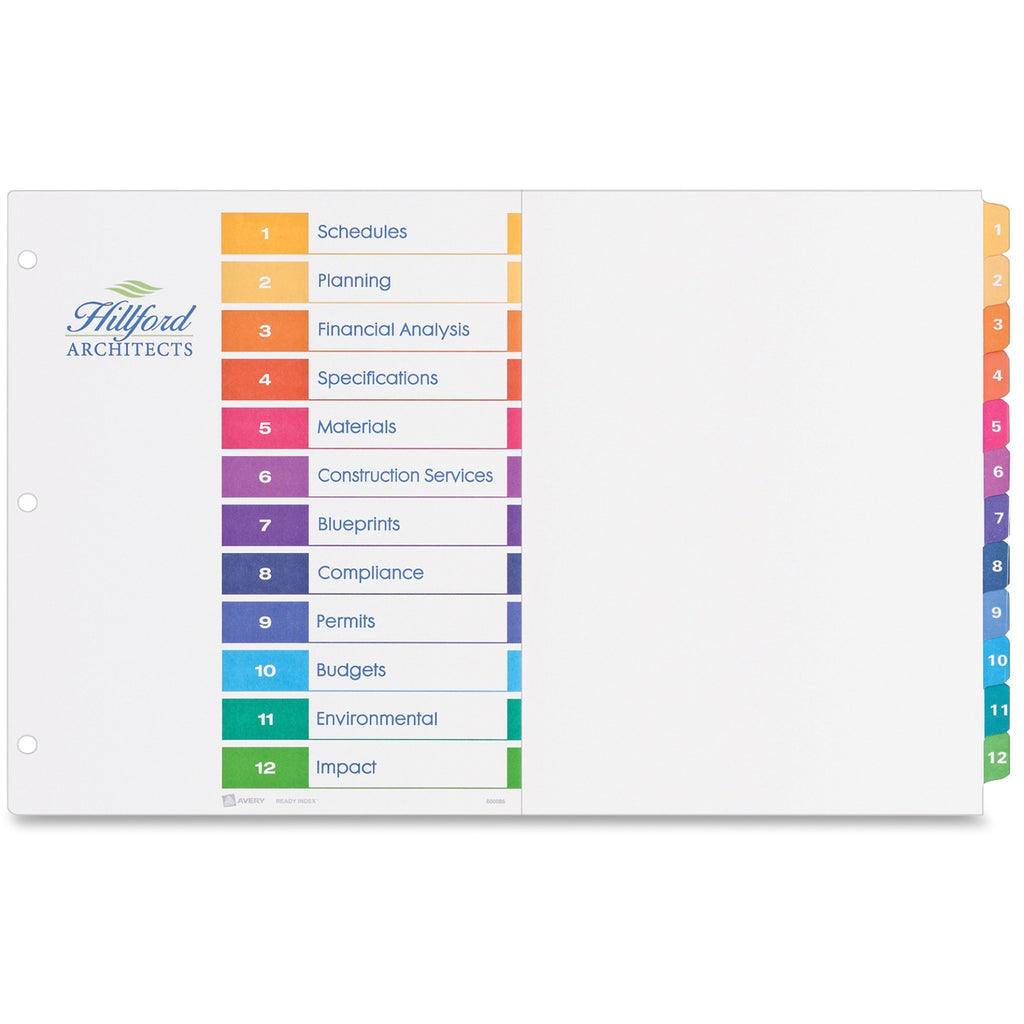 Avery 11in x 17in Ready Index Customizable Table of Contents Dividers