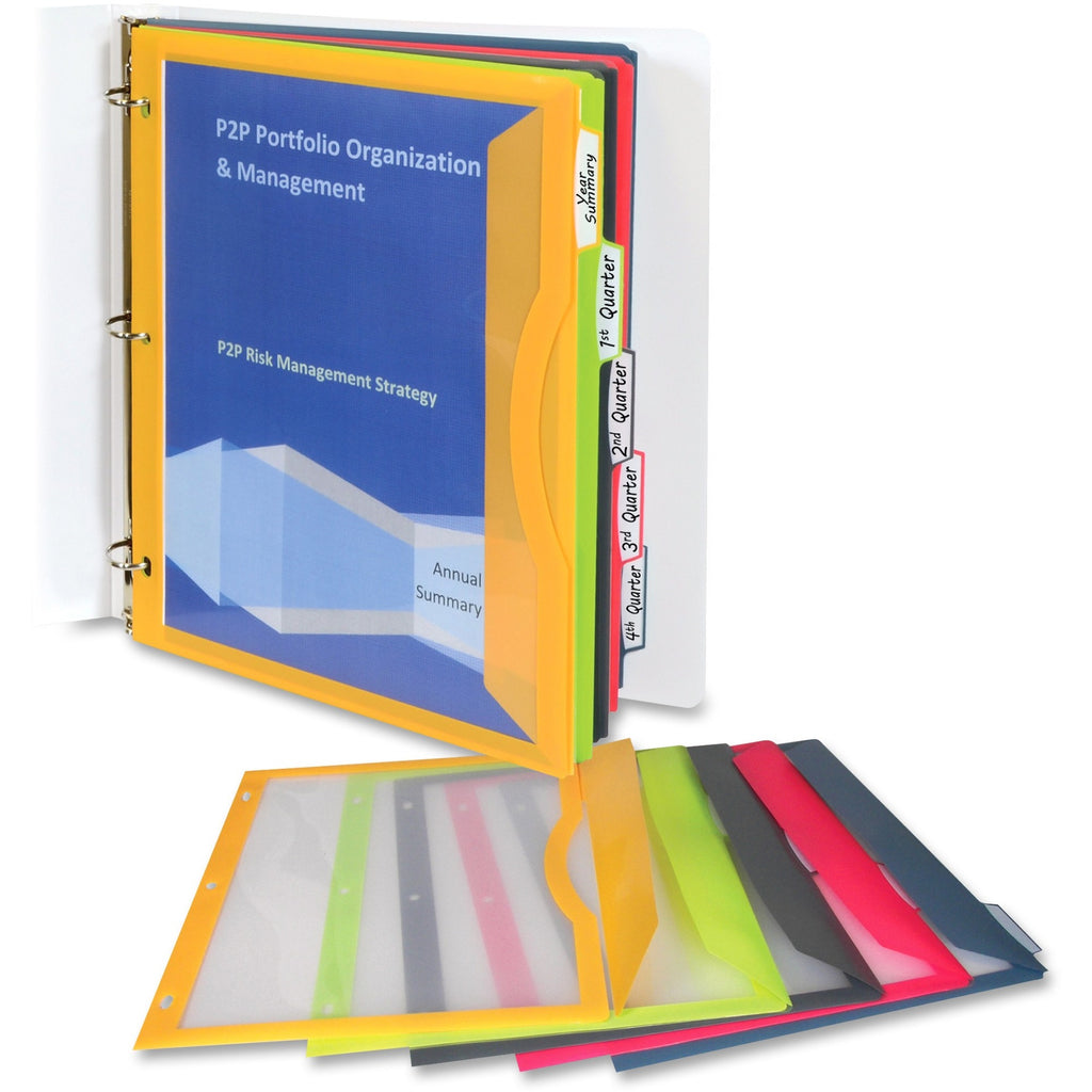 "C-Line Write-on Tab Poly Binder Pockets - For Letter 8 1/2"" x 11"" Sheet - 3 x Holes - Ring Binder - Rectangular - Lime Green, Charcoal Gray, Raspberry Red, Steel Blue, Amber Orange - Poly - 5 / Set"