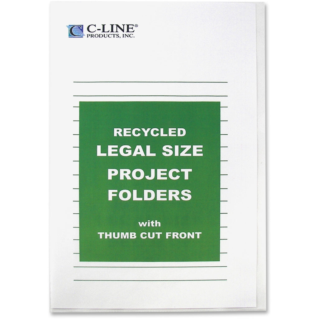 "C-Line Reduced Glare Recycled Project Folders - Legal - 8 1/2"" x 14"" Sheet Size - Polypropylene - Clear - Recycled - 25 / Box"