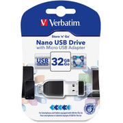 Verbatim 32GB Nano USB Flash Drive with USB OTG Micro Adapter   Black