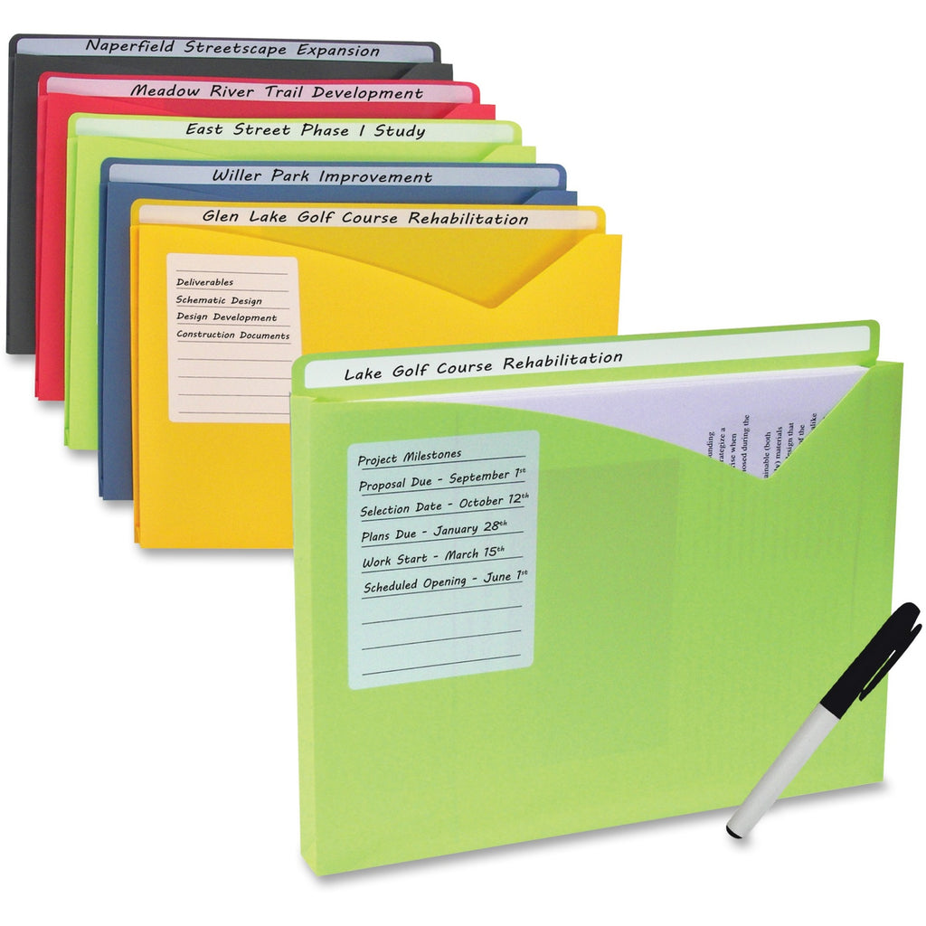 "C-Line Write-on Poly File Jackets - Letter - 8 1/2"" x 11"" Sheet Size - 225 Sheet Capacity - 1"" Expansion - 1"" Fastener Capacity - Full Tab Cut - Polypropylene - Lime Green, Amber Orange, Steel Blue, Raspberry Red, Charcoal Gray - 10 / Pack"