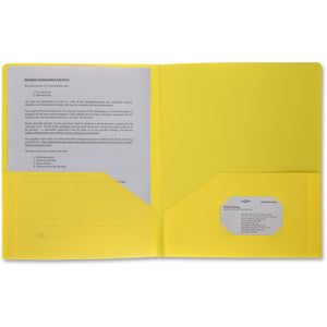 Business Source 2 pocket Poly Portfolio, letter, yellow
