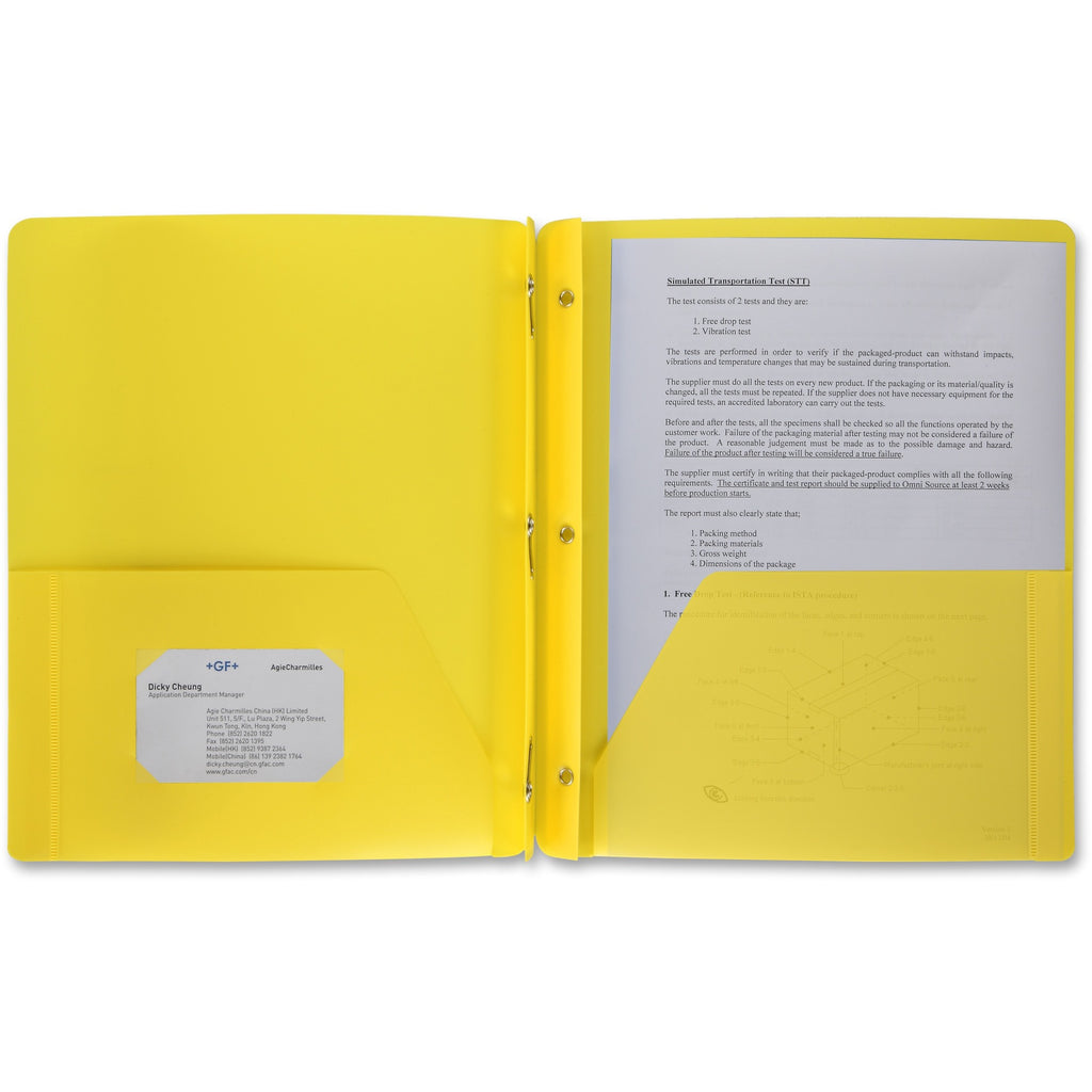 Business Source 3 Hole Punched Poly Portfolios, letter, yellow