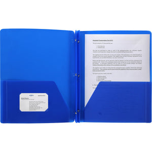 Business Source 3 Hole Punched Poly Portfolios, letter, blue