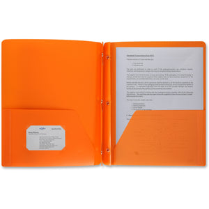 Business Source 3 Hole Punched Poly Portfolios, letter, orange