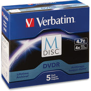 Verbatim DVD Recordable Media   DVD R   4x   4.70 GB   5 Pack Jewel Case