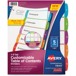 Avery Ready Index Customizable 5 Printed Tab(s) - Digit - 1-5 - 5 Tab
