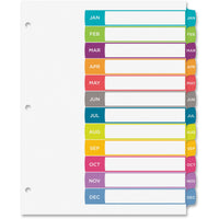 Avery Ready Index Customizable Table of Contents Contemporary Multicolor Dividers  12 Preprinted Jan-Dec