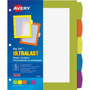 "Avery Big Tab Ultralast Plastic Dividers - 10"" - 5 / Set - 3 Hole Punched"