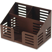 Lorell Stamped Steel 3 Compartment Desktop Organizer